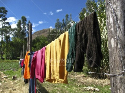 Fair Trade Photo Activity, Agriculture, Clothing, Colour image, Day, Drying, Horizontal, Mountain, Multi-coloured, Outdoor, Peru, Rural, Scenic, South America, Travel
