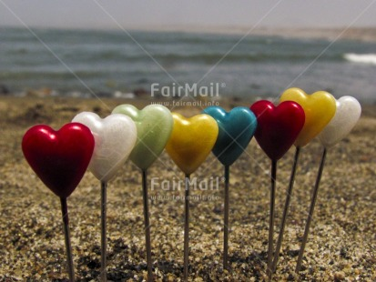 Fair Trade Photo Beach, Colour image, Day, Heart, Horizontal, Love, Outdoor, Peru, Red, Sand, Sea, Seasons, South America, Summer, Valentines day, Water