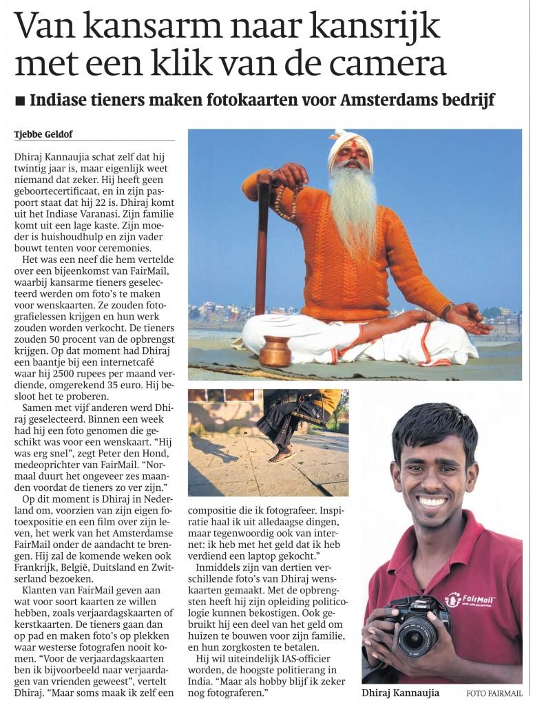 Dutch article in National Trouw Newspaper