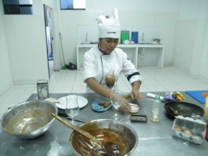 Patricia at her school to become chef