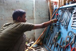 Akaash in his old mechanics workshop