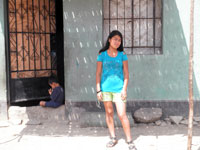 Patricia in front of her house where she is implementing her new bakery