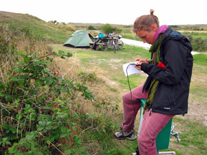 Digital nomad on camping