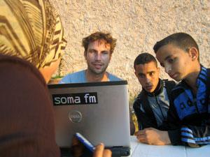 digital nomad in Moroccan cafe