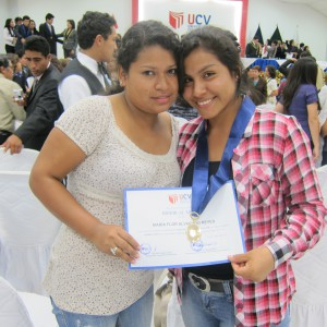 Mariaflor (r) after the ceremony with her friend Cinthia