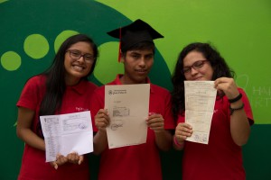 Diana, Jorge and Angeles after finishing high school