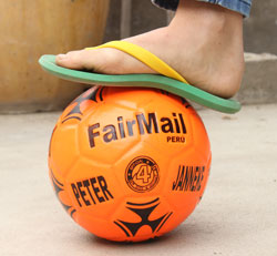 A unique FairMail soccer ball made in Mariluz' soccer ball factory